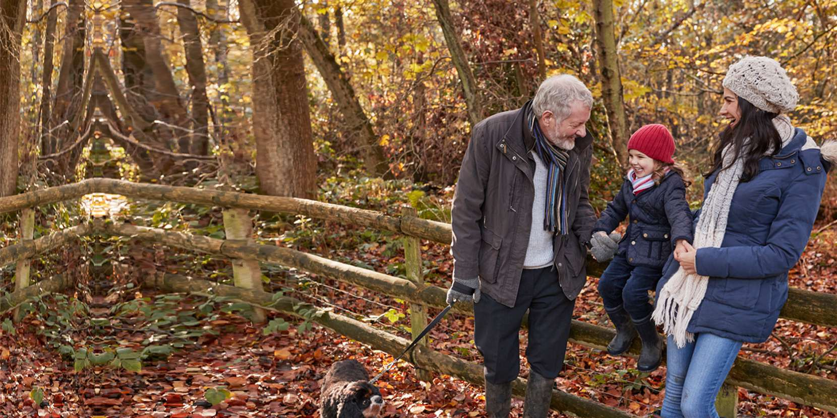 Mother child and granddad walking their dog on a leafy path