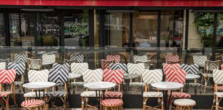 French business with decorative outdoor seating