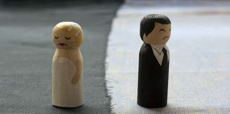 Wooden dolls illustrating a divorce